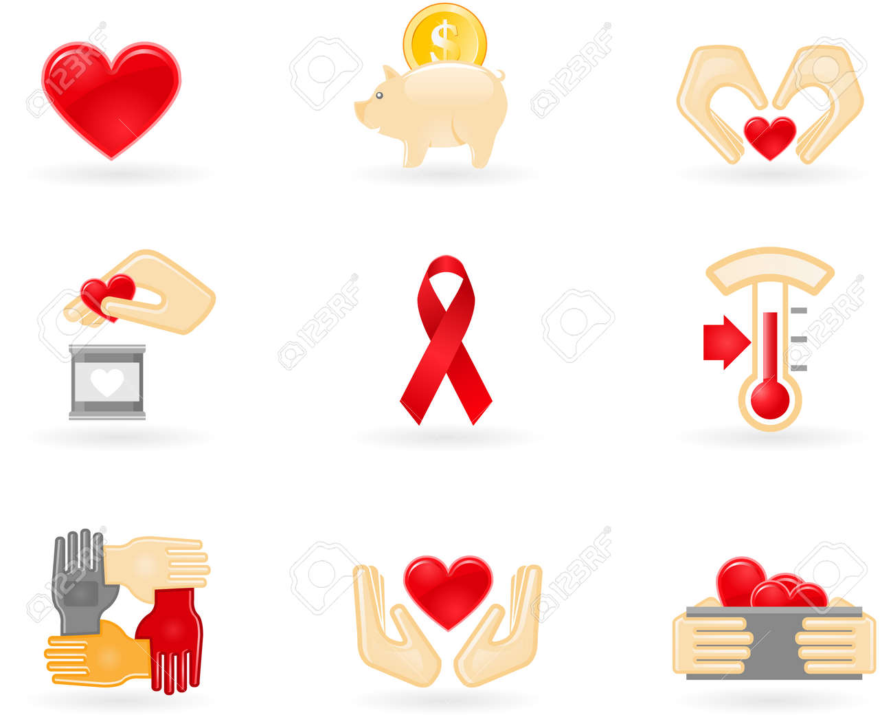 Donation and charity icons Stock Vector - 8757056