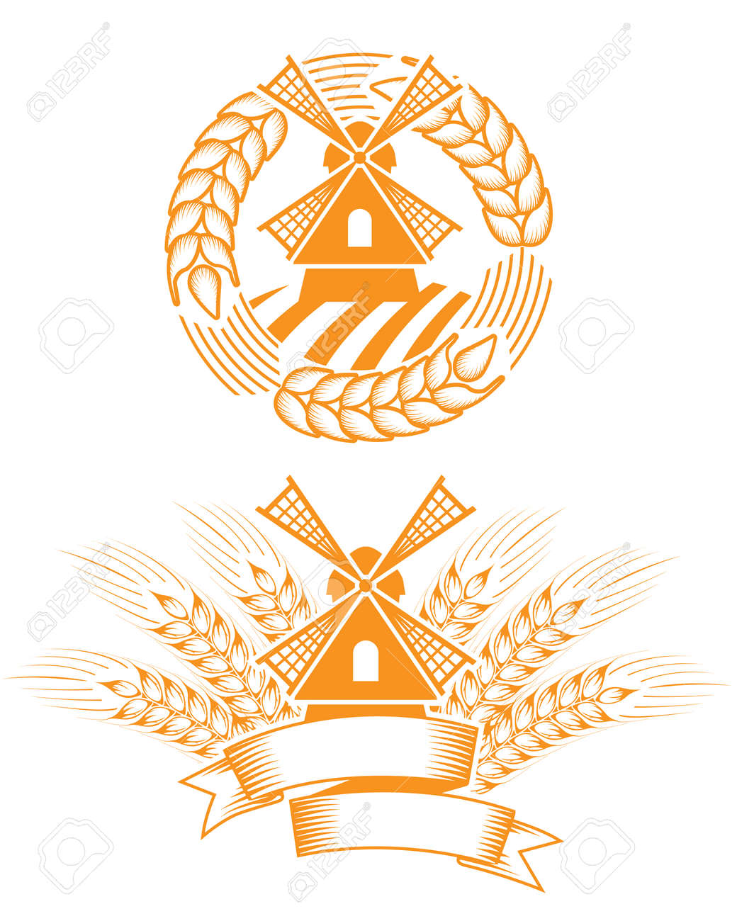 Windmill emblem Stock Vector - 9069503