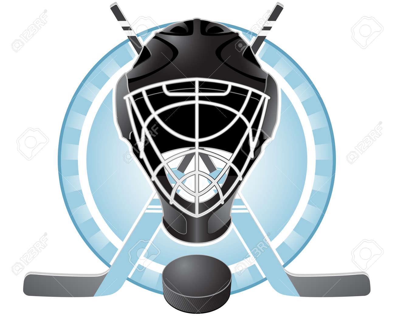 Emblem With Goaltender Helmet Hockey Sticks And Puck Royalty Free