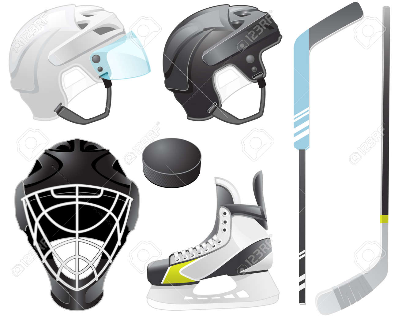 Goaltender helmet, hockey sticks, skate and puck Stock Vector - 9716887