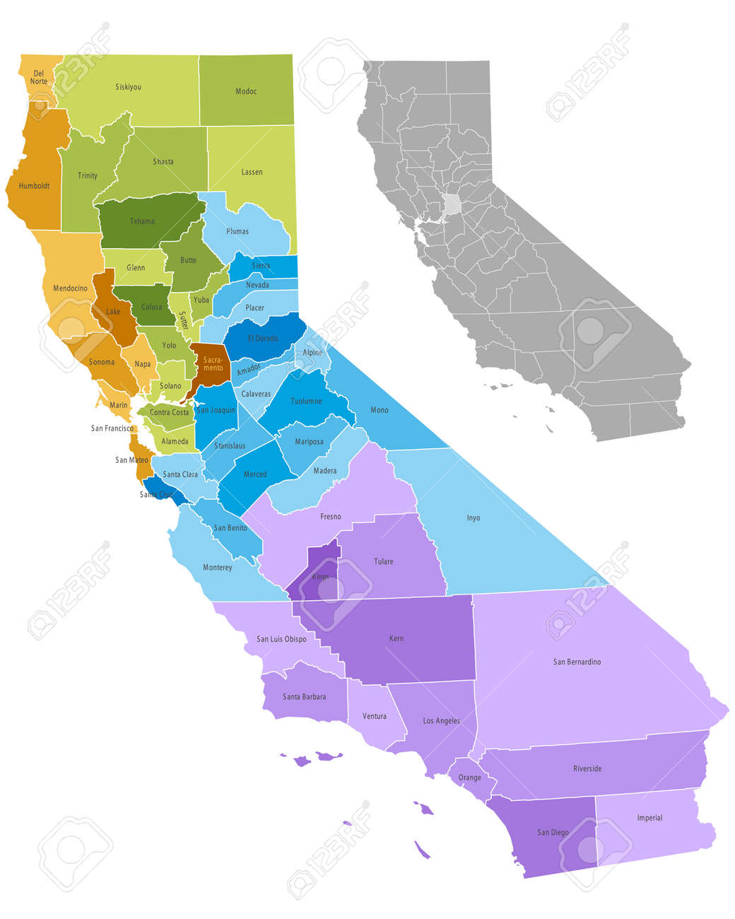 Mapa De Condados Del Estado De California Con Límites Y Nombres - Mapa de california