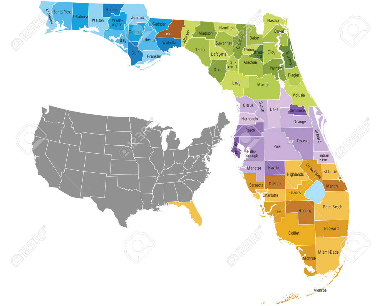 Florida State Counties Map With Boundaries And Names Royalty Free - Florida map state