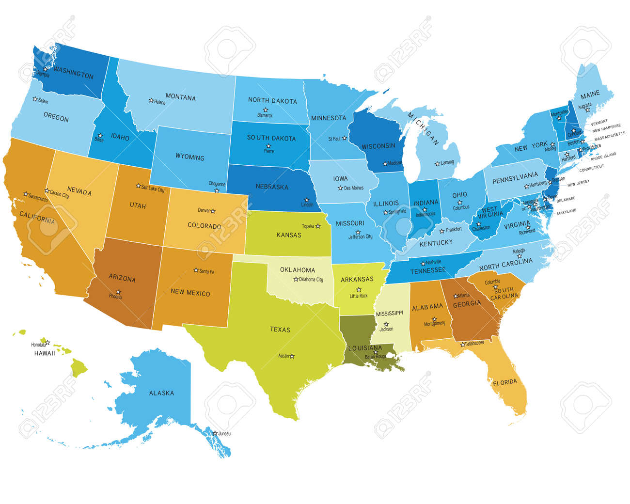 Picture of: Usa States Map With Names Of Cities Royalty Free Cliparts Vectors And Stock Illustration Image 10262113