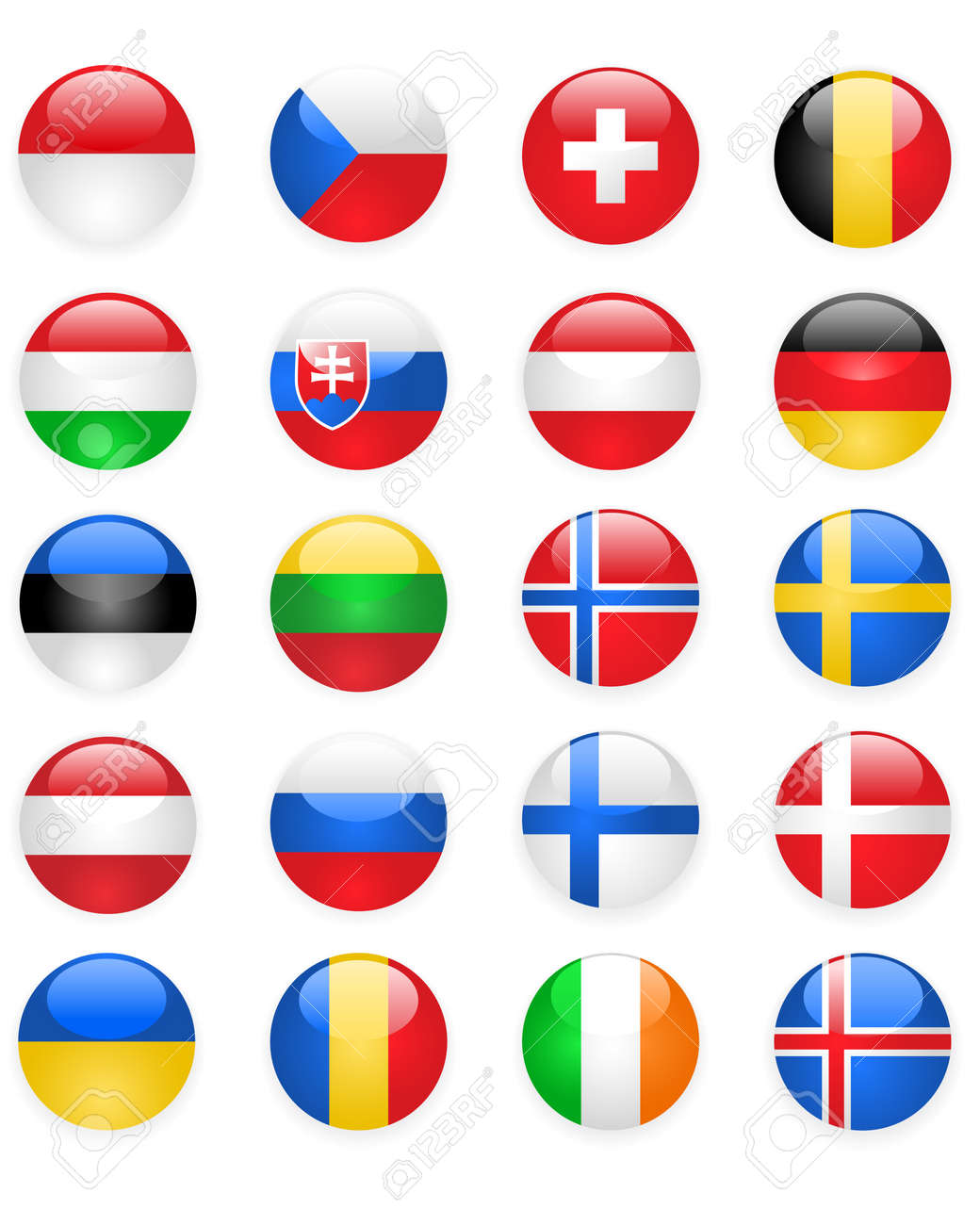 Europe flags buttons, part two Stock Vector - 11860965