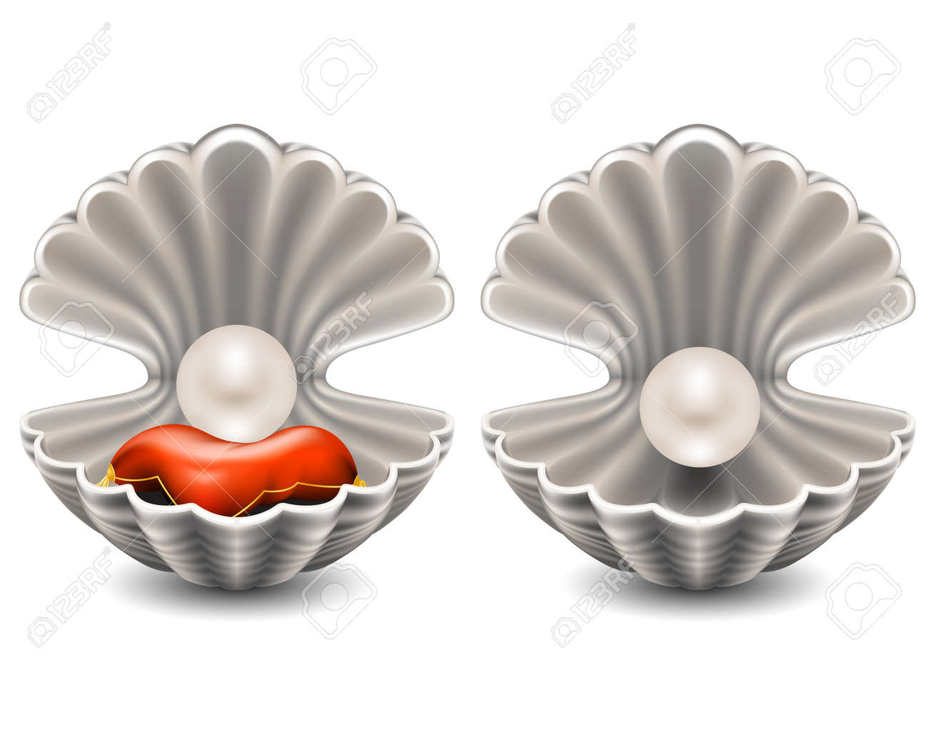 Open seashell with pearl Stock Vector - 12209372