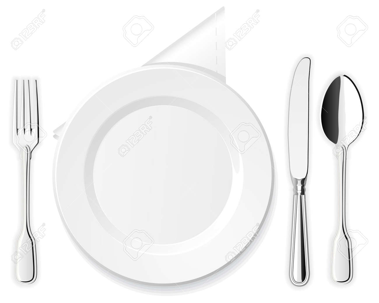 Plate, knife, spoon and fork Stock Vector - 12209374