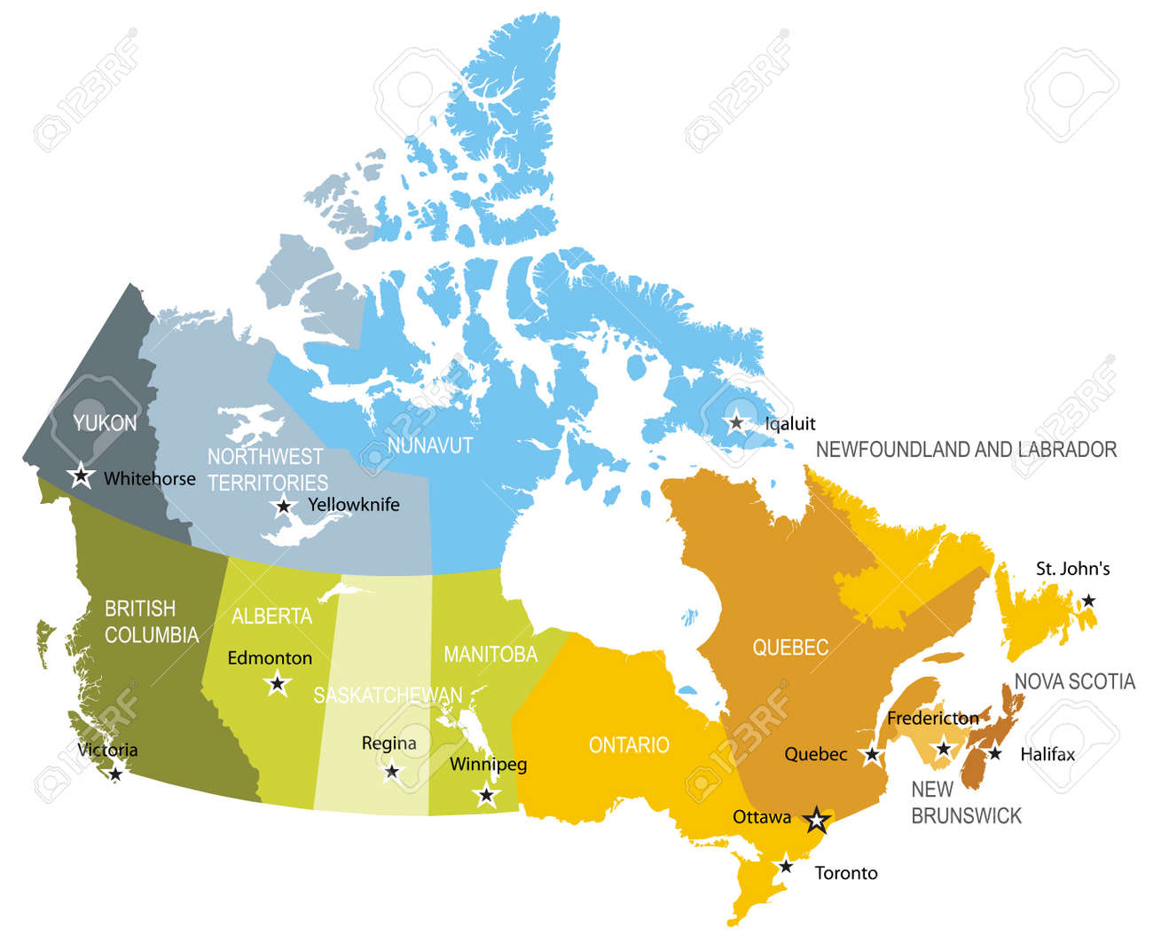 Map Of Provinces And Territories Of Canada Royalty Free Cliparts ...