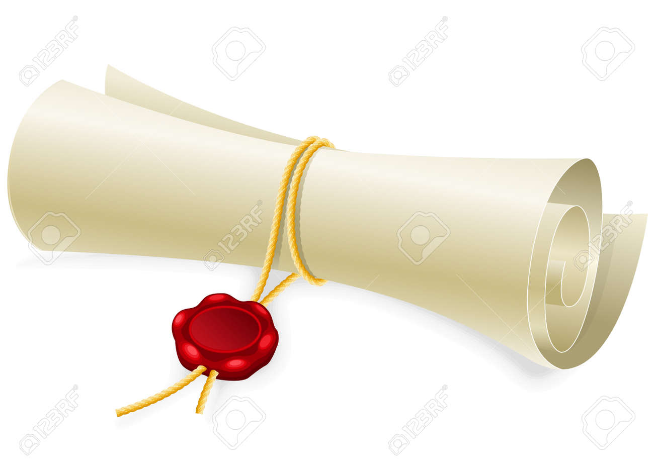 Scroll paper with seal of sealing wax made without gradient mesh Stock Vector - 13333685