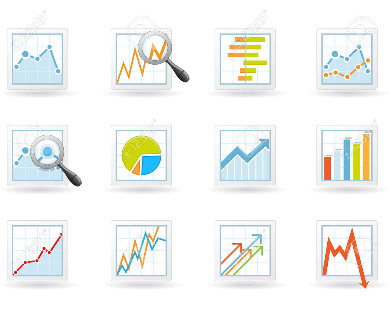 Statistics and analytics icons with charts and diagrams Stock Vector - 14446144