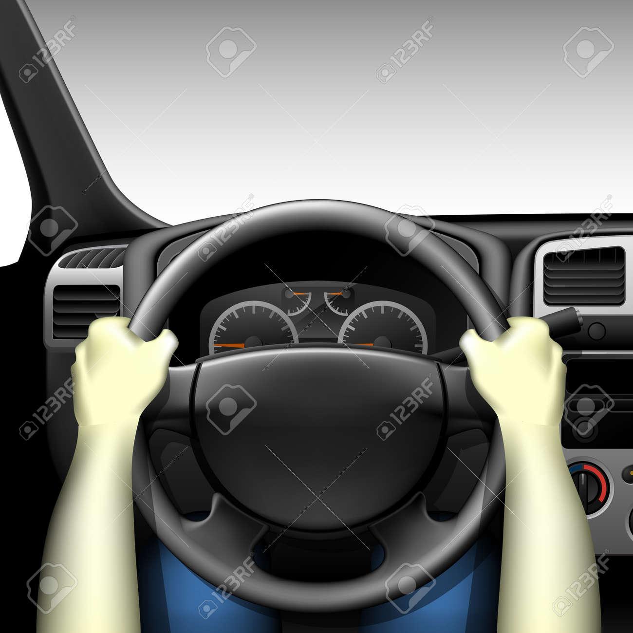 automobilist auto interieur met dashboard en de handen van de bestuurder gemaakt met