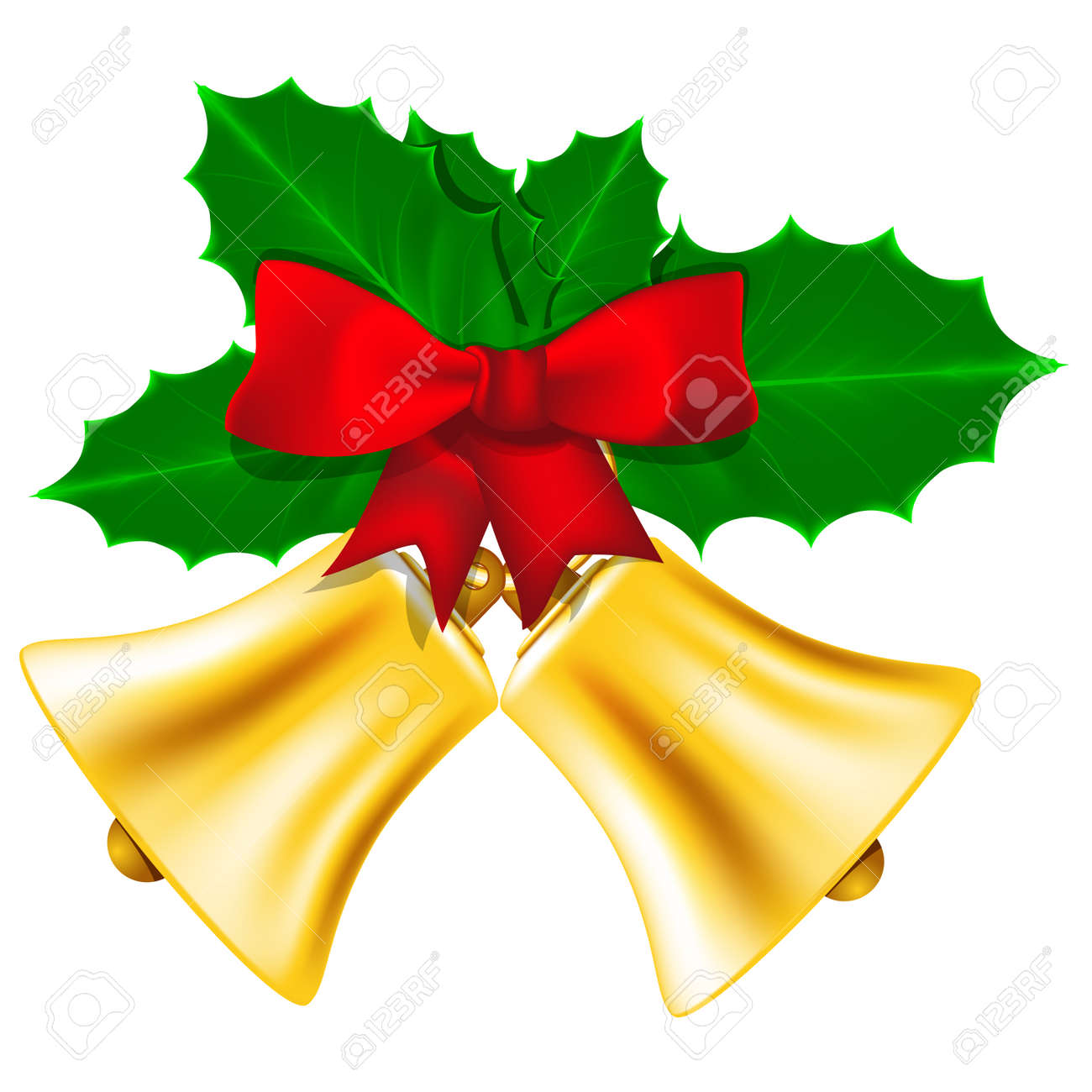 Christmas Leaves.Golden Christmas Bells With Red Bow And Leaves Of Holly