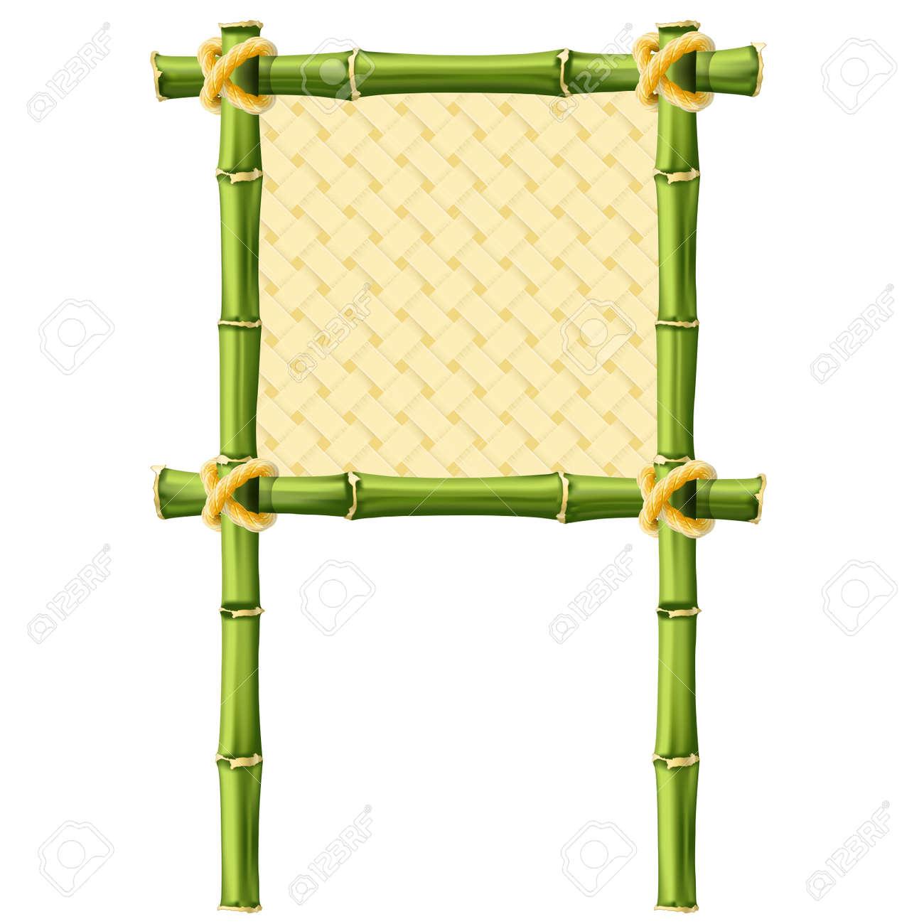 Marco De Bambú Cuadrada Con Fondo De Mimbre - Letrero Ilustraciones ...
