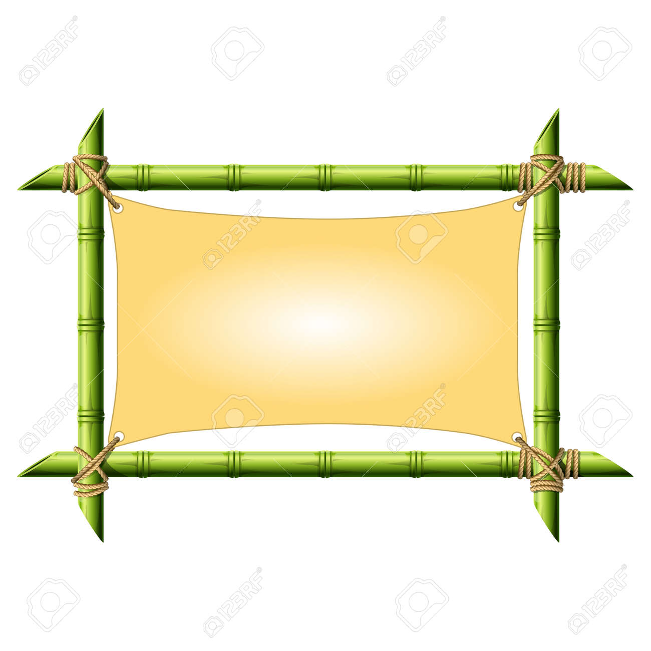 Bamboo Frame With Stretched Canvas Isolated On White Royalty Free ...