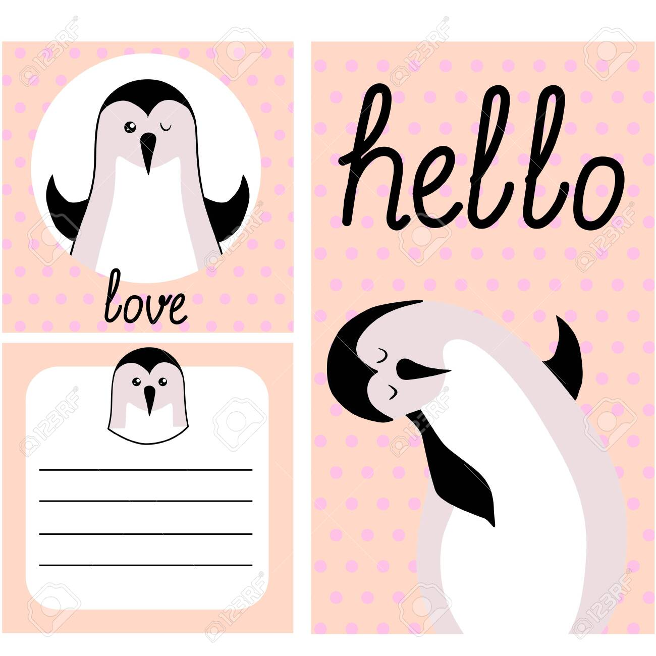 Cute Hand Drawn Doodle Baby Shower Cards Brochures Invitations