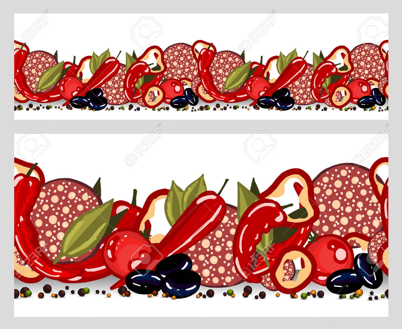 Kitchen textile design. Cooking food border seamless. Pizza, salami, peppers and olives with olives. Italian pizza. - 168914904