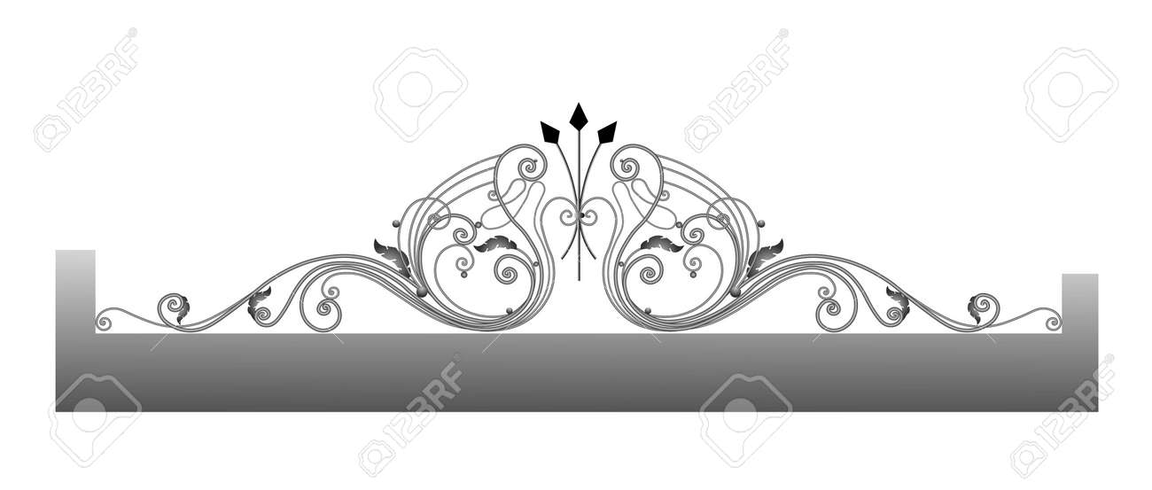 Vector template for a fence. Wrought iron. Metal fence sketch. Artistic forging. Metal garden decoration. - 168914910