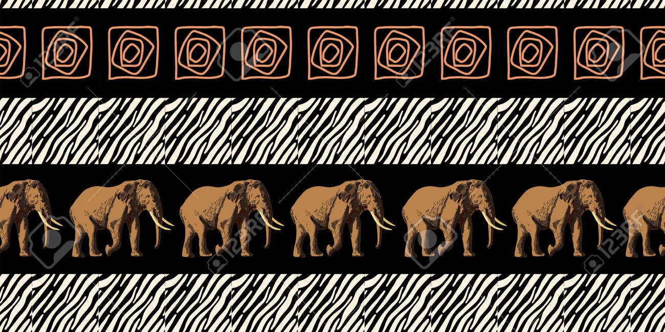 ETHNIC TREND. PAINTING IN AFRICAN STYLE. SEAMLESS AFRICAN PATTERN. TRADITIONAL PATTERN. savanna animals. elephant. Vector illustration. Fashion. - 168195305