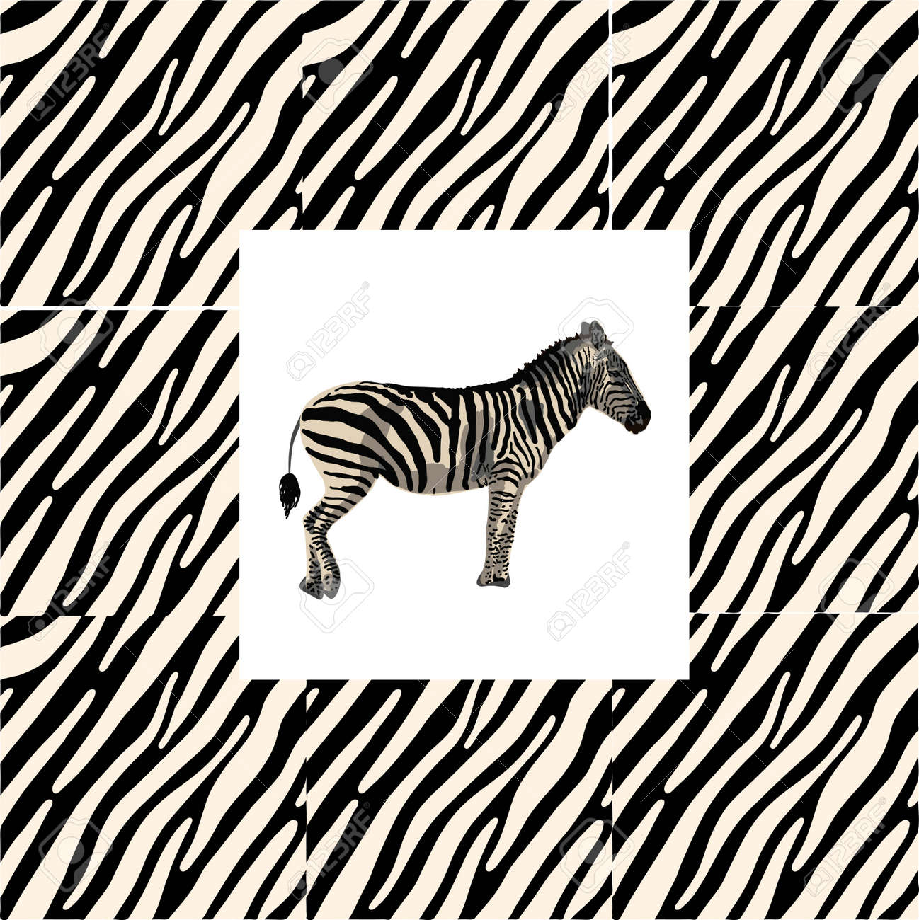 ETHNIC TREND. PAINTING IN AFRICAN STYLE. SEAMLESS AFRICAN PATTERN. TRADITIONAL PATTERN. savanna animals. zebra. Vector illustration. Fashion. - 168195307