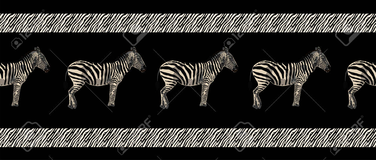 ETHNIC TREND. PAINTING IN AFRICAN STYLE. SEAMLESS AFRICAN PATTERN. TRADITIONAL PATTERN. savanna animals. zebra. Vector illustration. Fashion. - 168195311