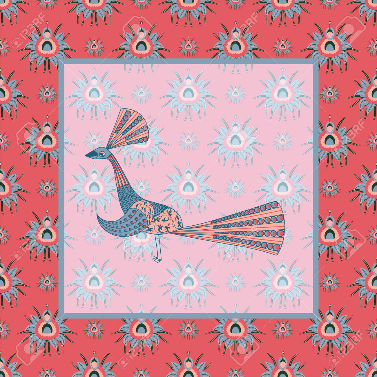 Pattern with CHRYSANTHEMES AND PEACCO. PATTERN IN CHINESE STYLE. STYLIZED PEACOCK. Vector illustration. - 168195318