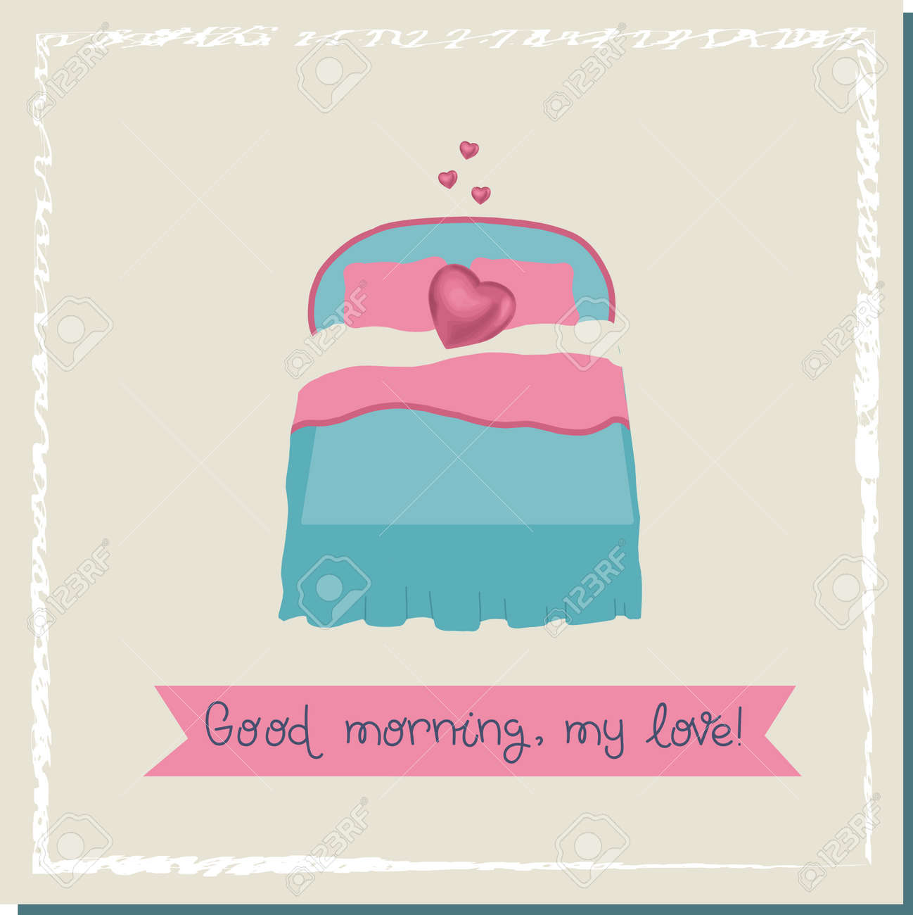 Bridal bed. Hearts over the bed. Love concept. Valentine's day poster square. Trendy illustration on the theme of love. Vector illustration. - 168195335