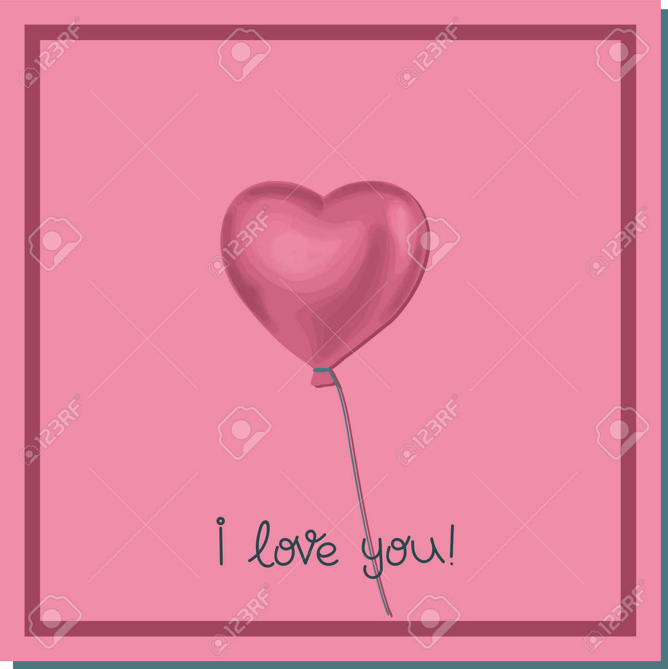 Balloon of newlyweds. Hearts on a string. Love concept. Valentine's day poster square. Trendy illustration on the theme of love. Vector illustration. - 168195339