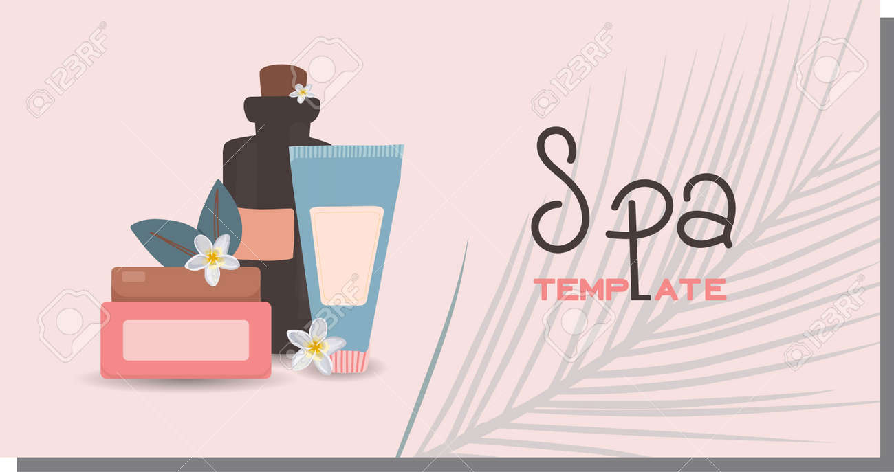 Advertising template for spa salon. Beauty salon horizontal banner. Personal care and cosmetics concept. Relaxation and massage. Cosmetics and items discount. Vector illustration - 168914912