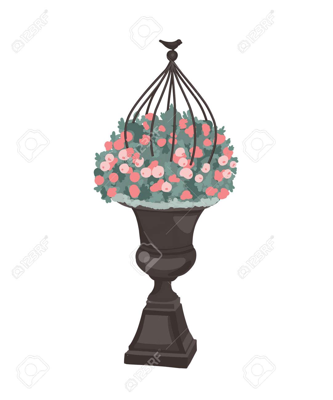 garden pots for flowers. Garden decoration. Flowers in a pot. Beautiful flower arrangement. Street vase. Vector illustration - 168914918
