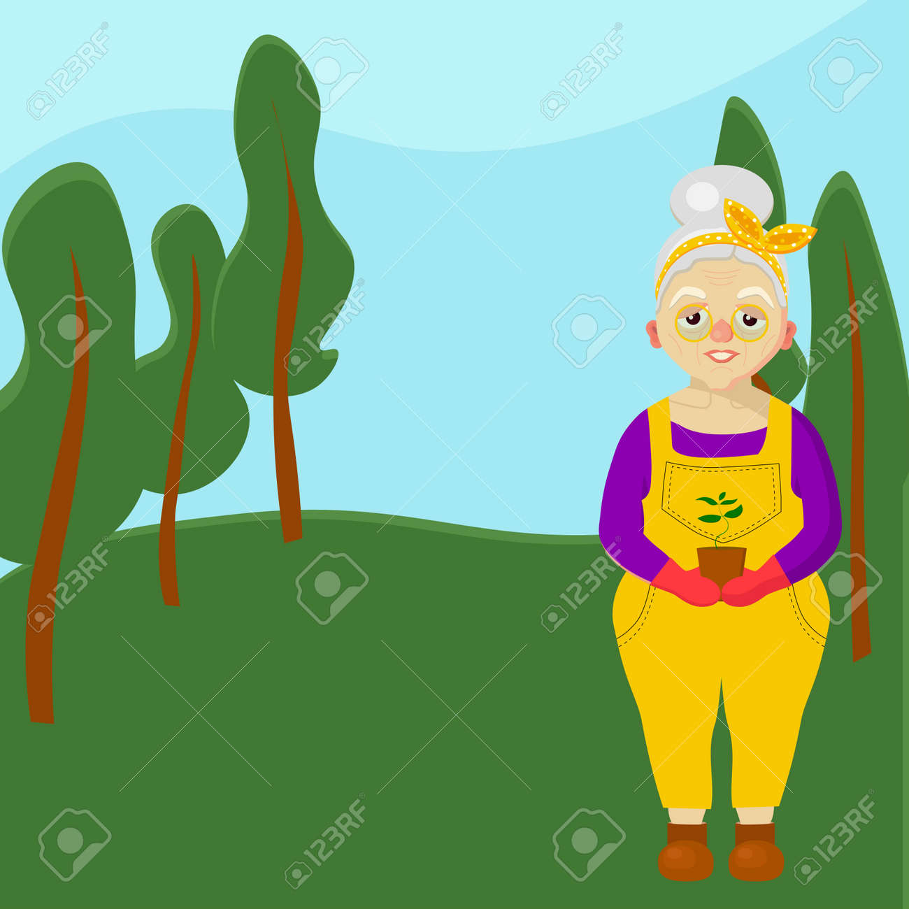 An elderly woman in the forest. Grandmother. Old woman character. Leisure of pensioners. Vector illustration - 168196990