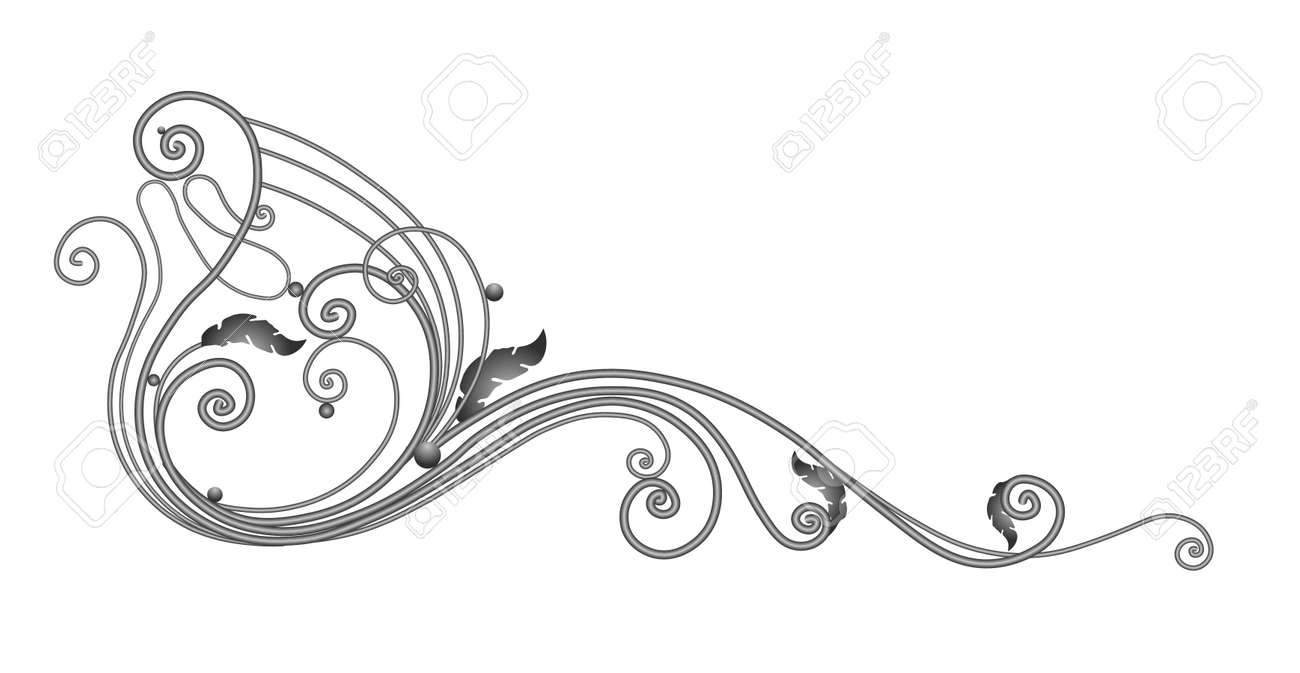 A sketch of a wrought iron fence or fence. Hand-drawn model of a forged product. Artistic forging. Metal garden fence. Vector illustration. - 168196998