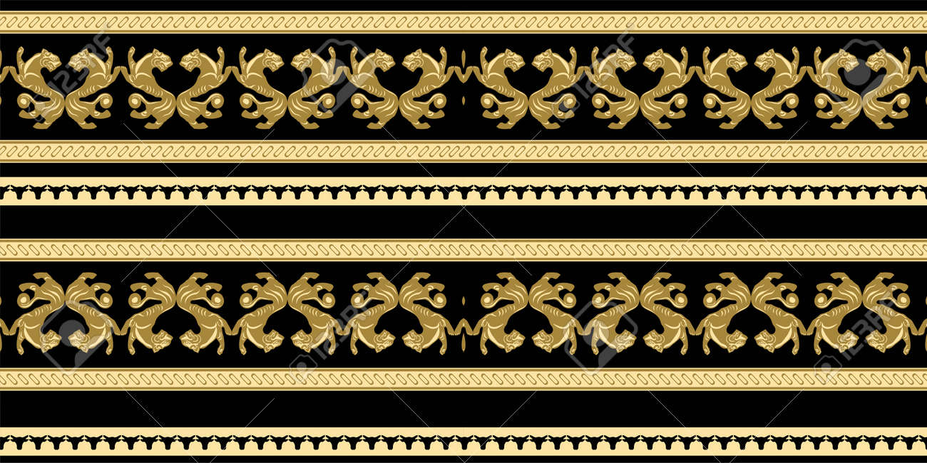 Scythian ethnics. Scythian ornament seamless. Zoological style. Historical seamless pattern. Northern Black Sea region art and culture. Animal in the ancient world. Ethnic pattern - 168197001