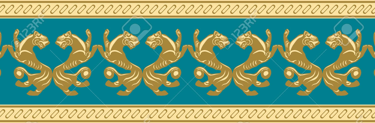 Scythian ethnics. Scythian ornament seamless. Zoological style. Historical seamless pattern. Northern Black Sea region art and culture. Animal in the ancient world. Ethnic pattern - 168197005