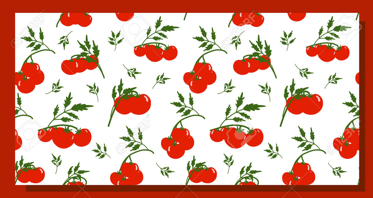 Seamless tomato background. Pattern on the theme of vegetables. Red tomatoes on a white background. Kitchen textiles design. Summer pattern. - 168914933