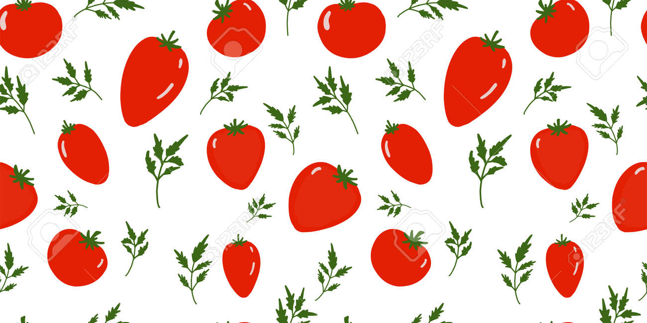 Seamless tomato background. Pattern on the theme of vegetables. Red tomatoes on a white background. Kitchen textiles design. Summer pattern. - 168914934