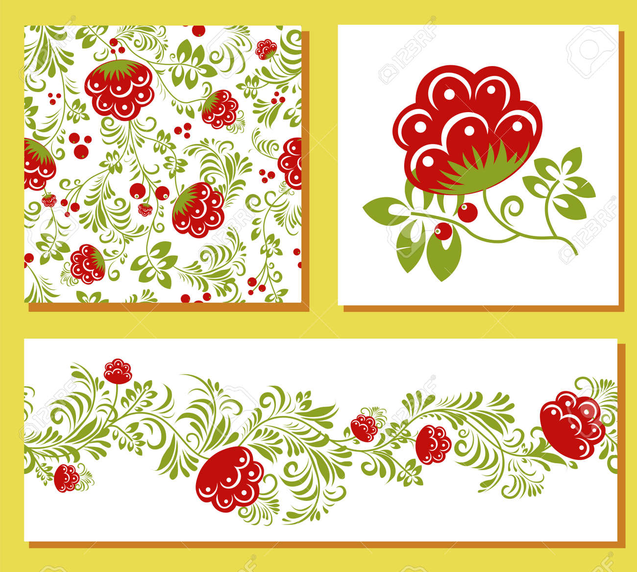 ethnic Ukrainian pattern. Petrikovskaya painting. Traditional Ukrainian painting. Abstract flowers on a white background. set for design of clothes, fabrics and textiles. - 169770385