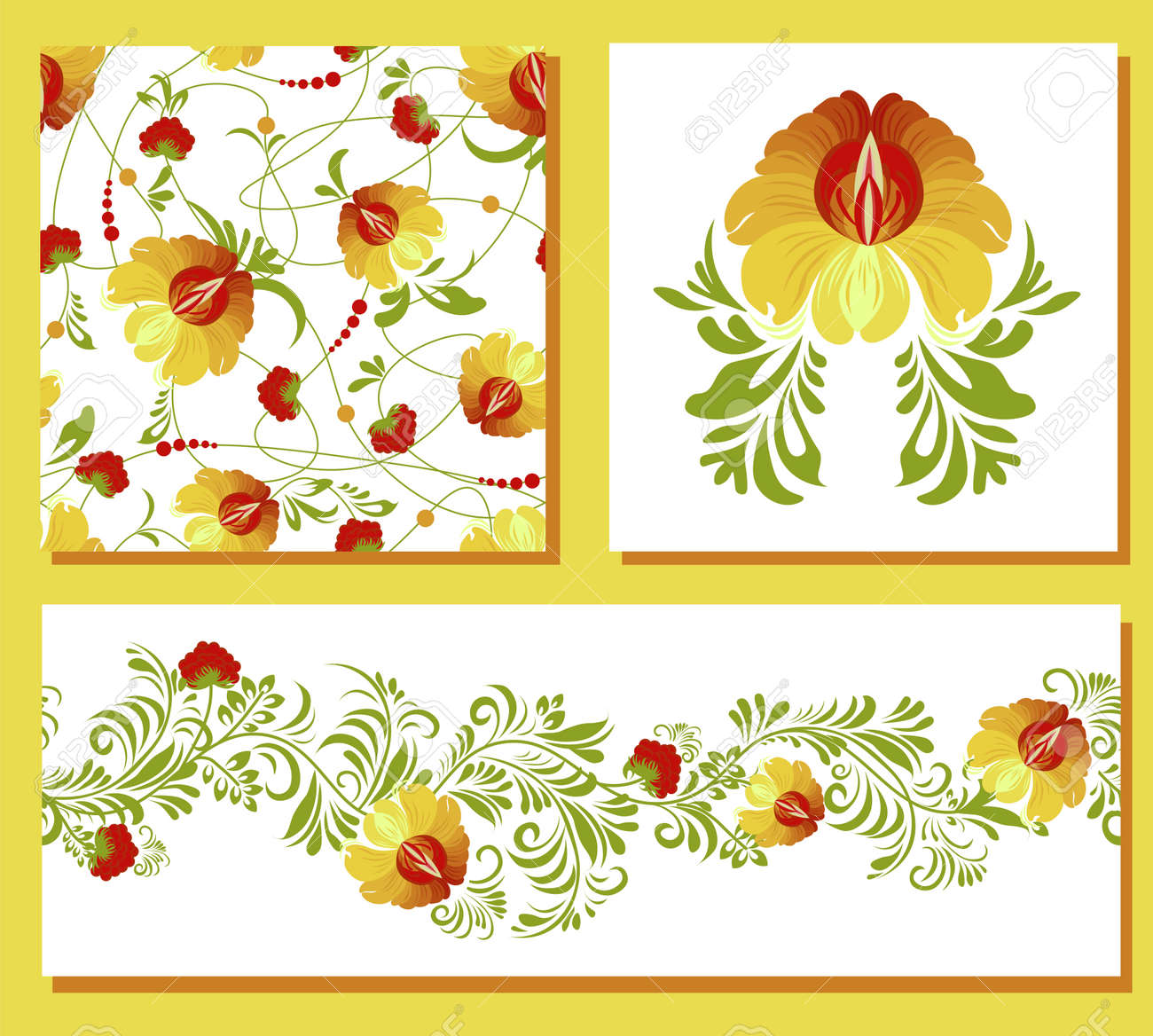 ethnic Ukrainian pattern. Petrikovskaya painting. Traditional Ukrainian painting. Abstract flowers on a white background. set for design of clothes, fabrics and textiles. - 169770387