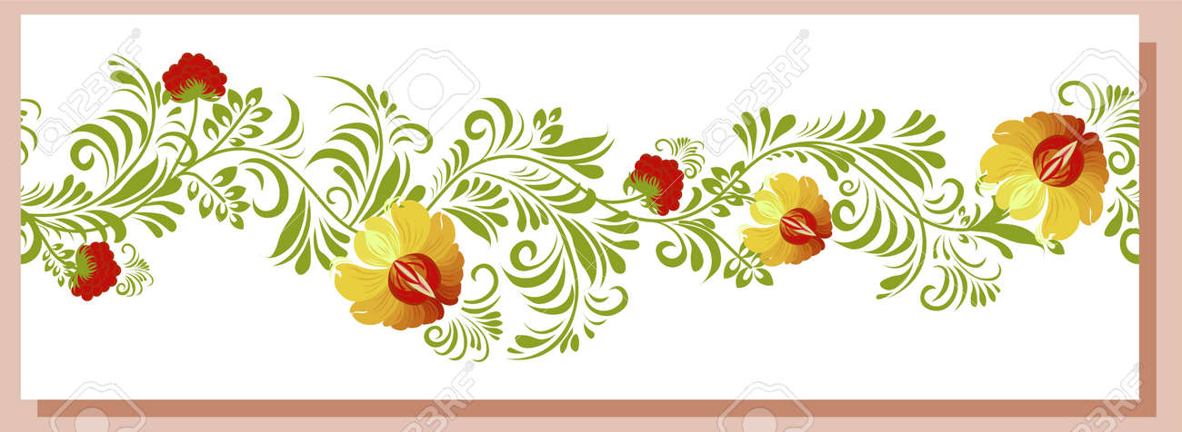 ethnic Ukrainian pattern. Scythia. Traditional Scythian culture. Seamless border. Abstract flowers on a white background. set for design of clothes, fabrics and textiles. - 169770391
