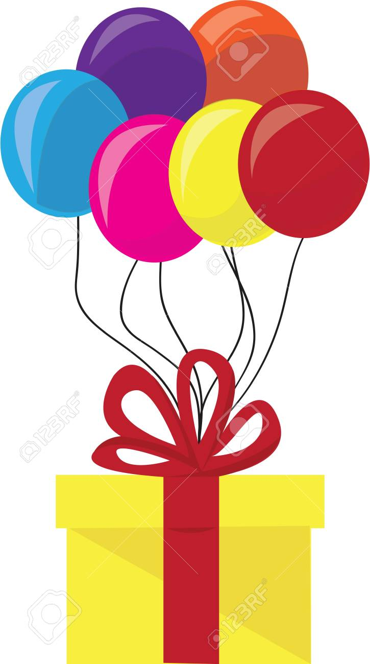 Decora Una Fiesta De Cumpleaños Con Regalos Y Globos Ilustraciones