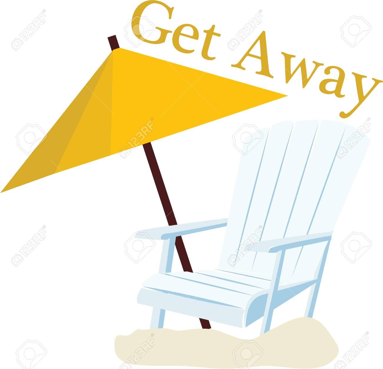 Eine Taschen Strand Wird Mit Einem Stuhl Auf Sonne Schön Akzentuierten Aussehen