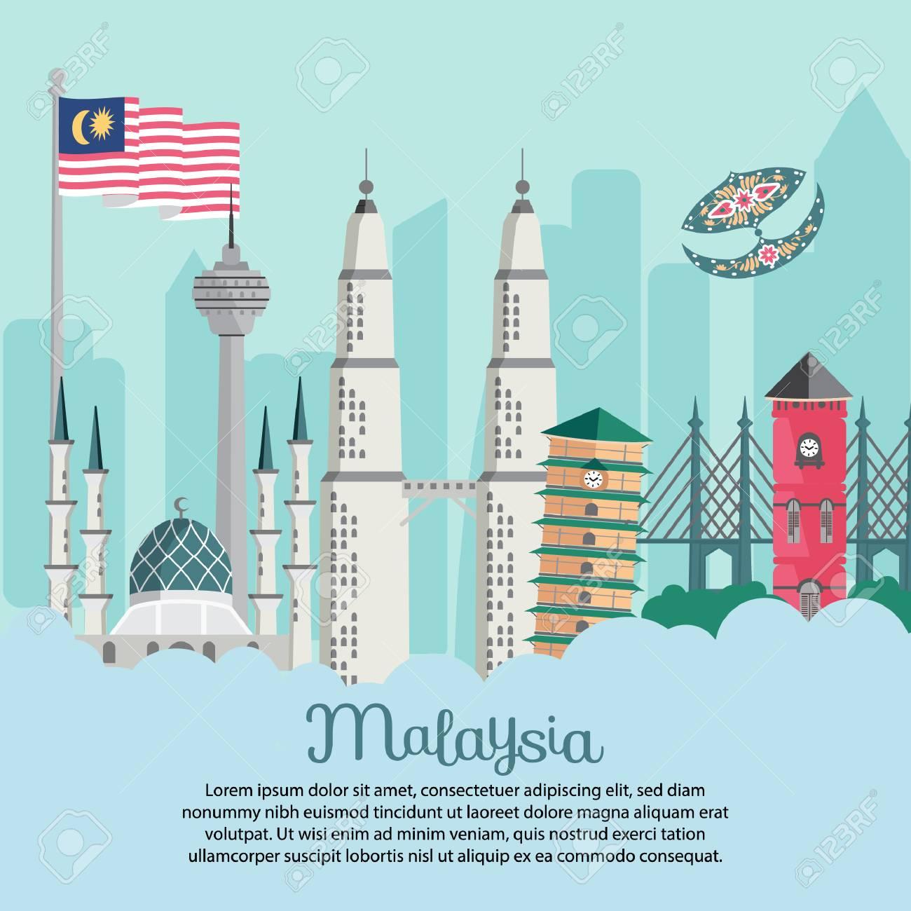 Malaysia building - Flag bendera berkibar masjid shah alam leaning tower KLCC merdeka - 116142274