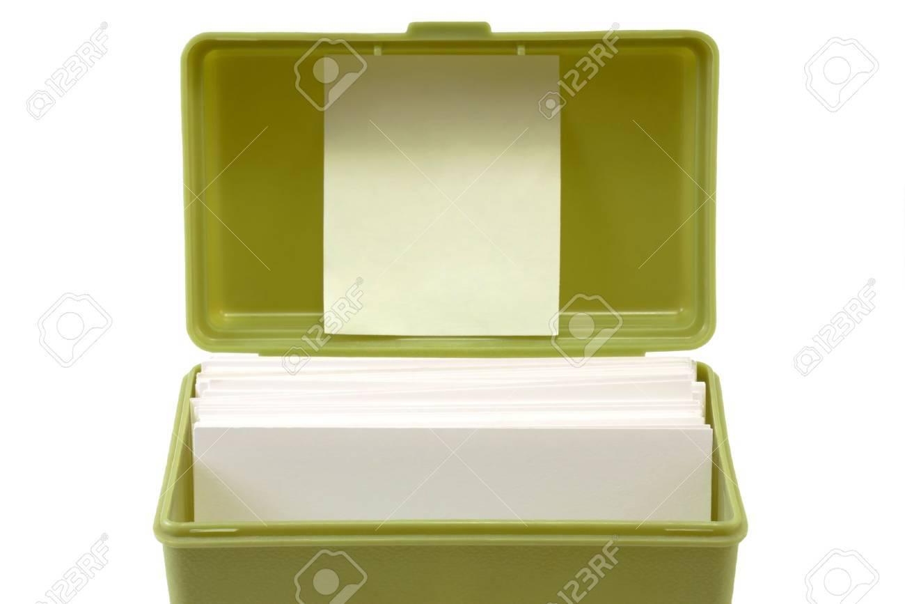 Un Archivo De La Tarjeta índice Verde Con Caja De Fichas Dentro Y ...