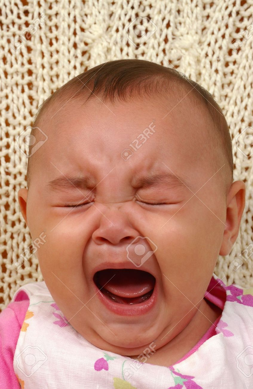 cute baby girl crying stock photo, picture and royalty free image
