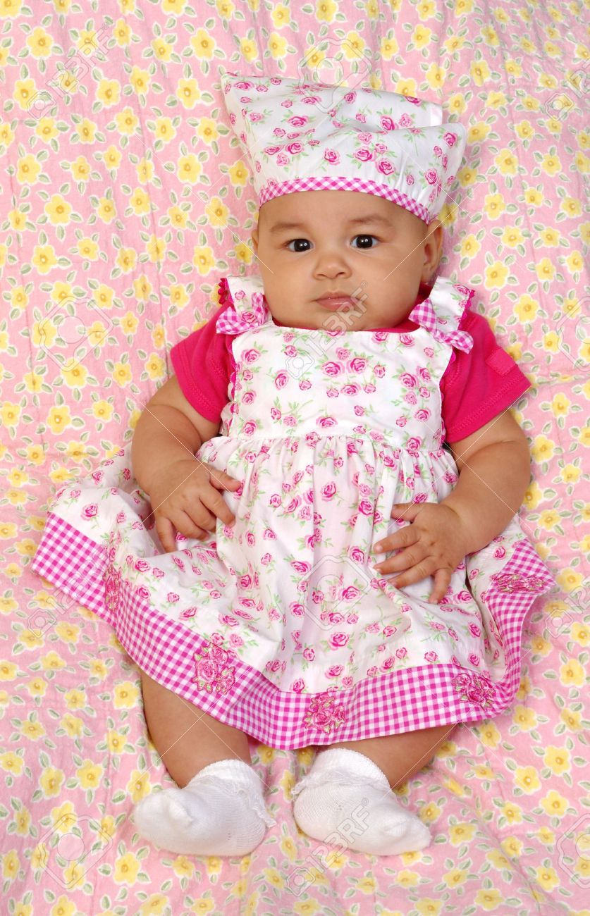 da3fbd15414d Baby girl in a pink dress 3 months old Stock Photo - 3537381