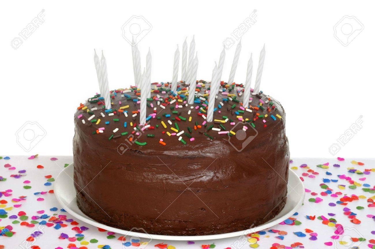 Gâteau D Anniversaire Au Chocolat Avec Des Bougies