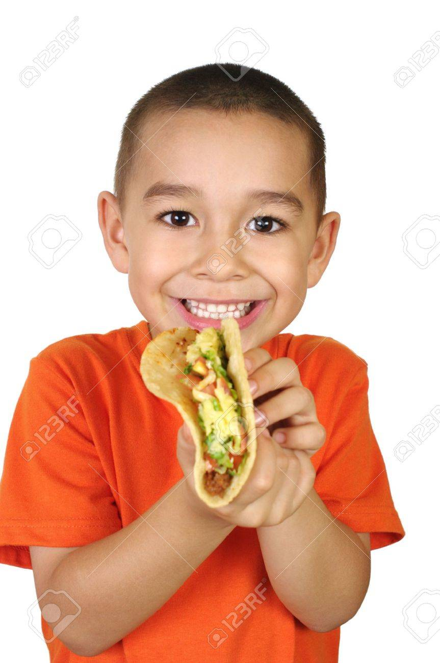Kid with a taco, isolated on white Stock Photo - 5808176
