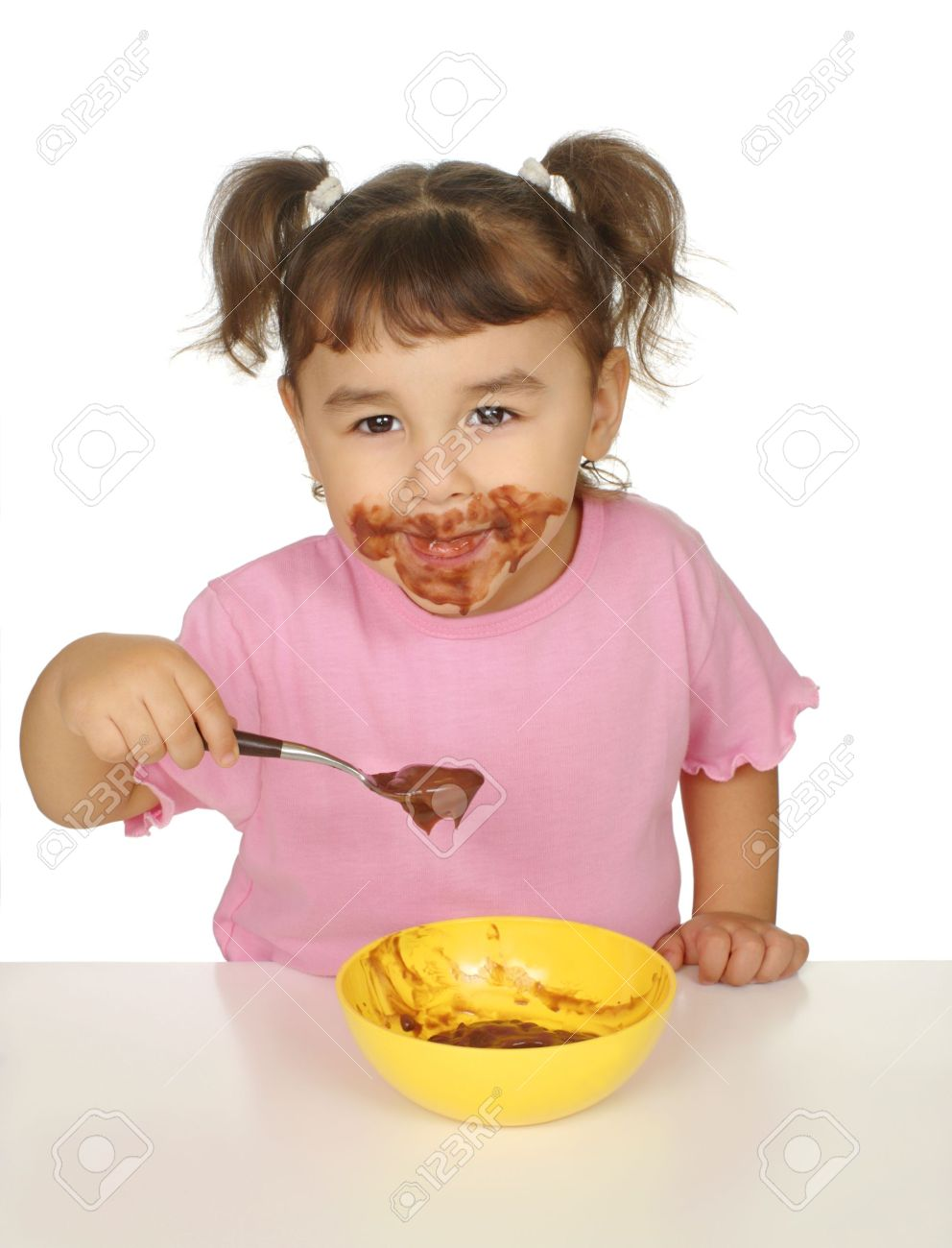 Kid With Chocolate Pudding Messy Face Stock Photo, Picture And ...