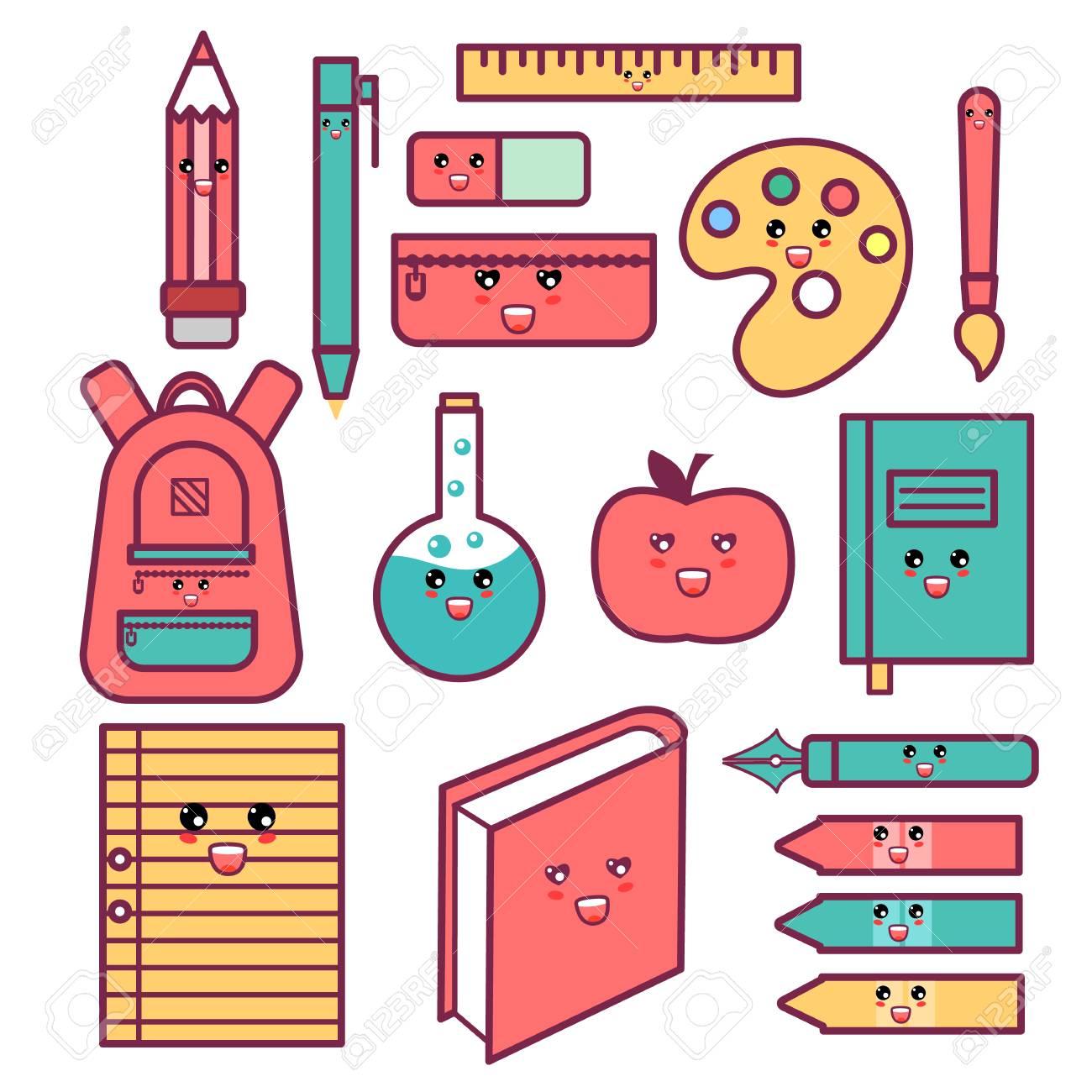 Cute happy school supplies set. - 83978374
