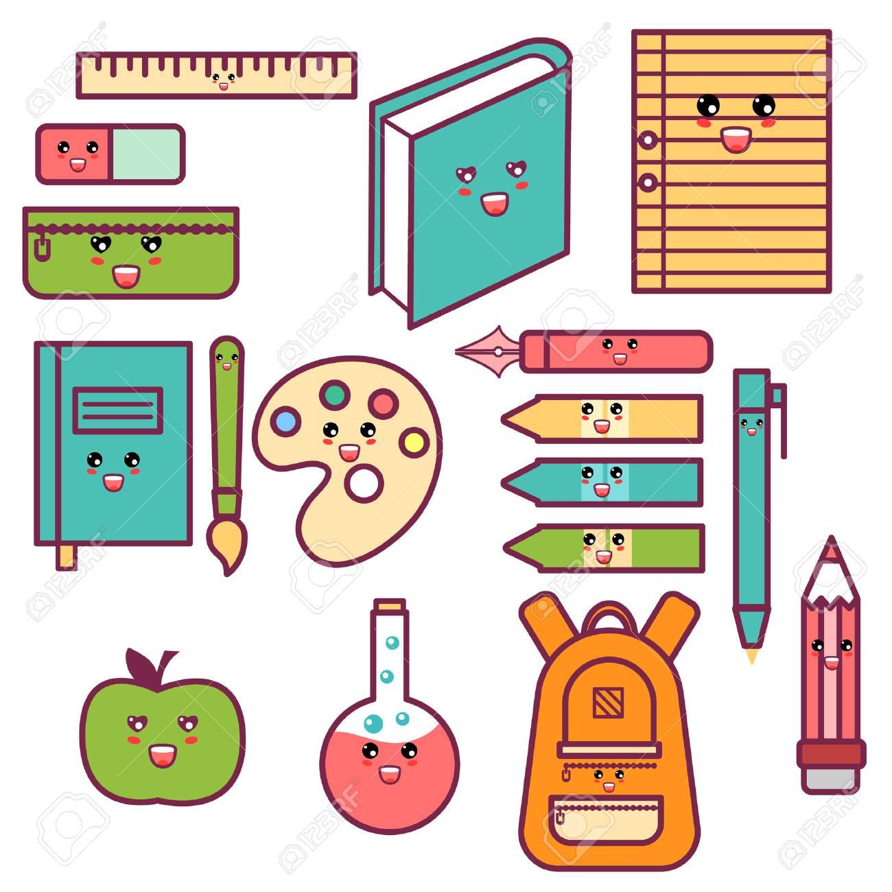 Kawaii Cute Happy School Supplies set - 84256225