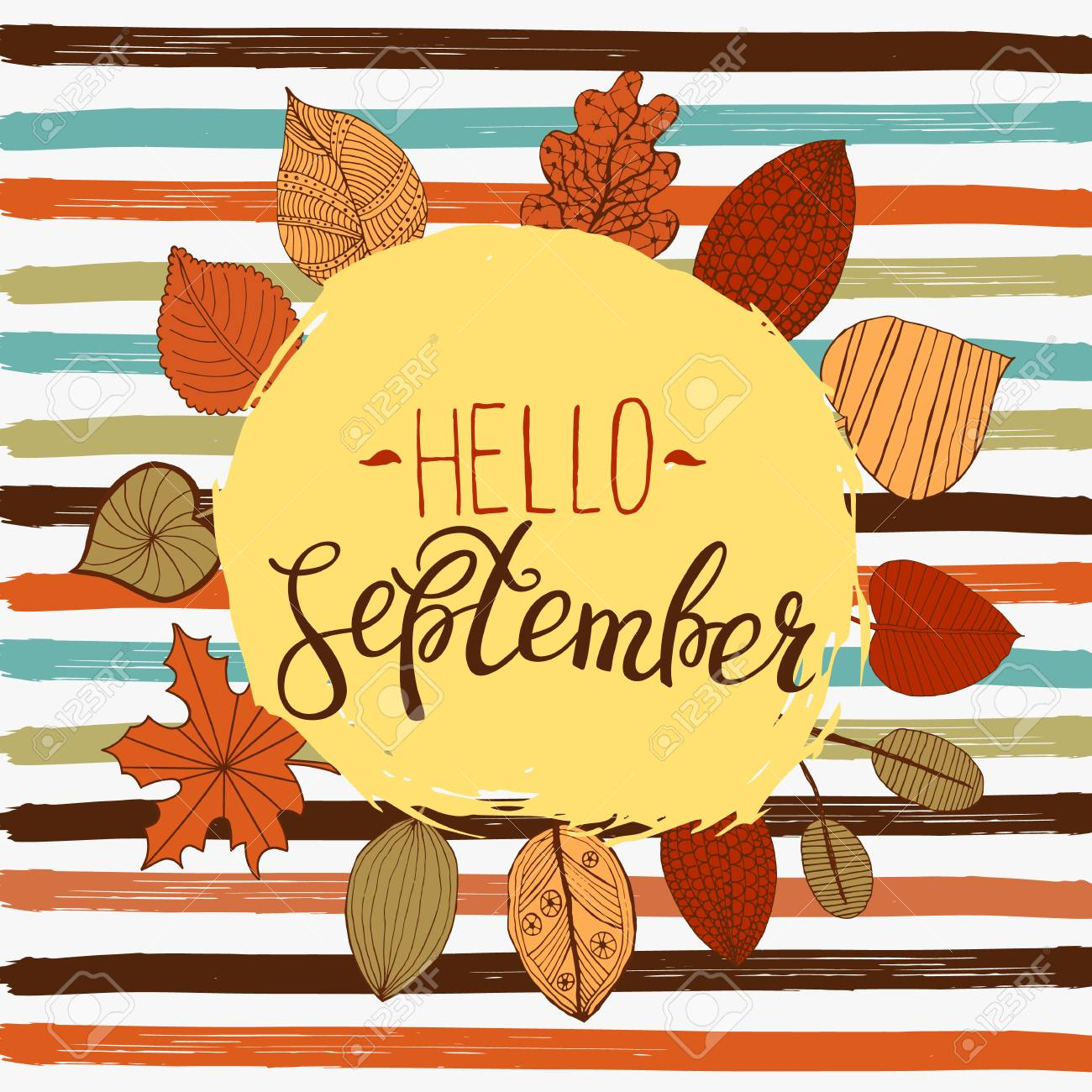 hello september autumn flyer template with lettering bright