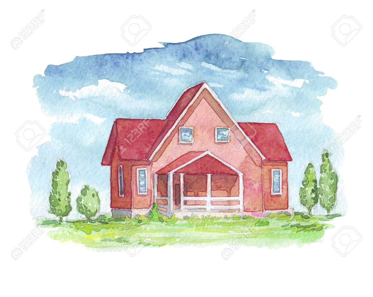 House Exterior Watercolor Illustration Stock Photo, Picture And ...